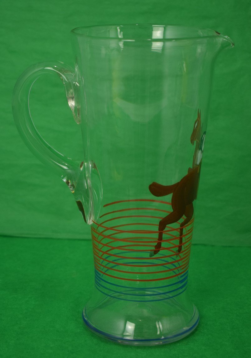 'Hand-Painted c.1930's Steeplechaser Cocktail Pitcher'