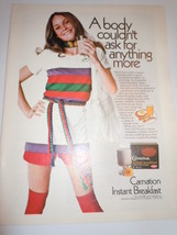 Vintage Carnation Instant Breakfast Girl in Mod Outfit Print Magazine Ad... - $12.99