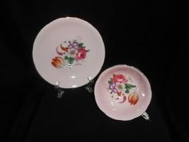 Paragon Tea Cup Vintage Pale Pink Cabbage Rose Floral Spray Teacup and Saucer - $47.50