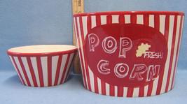 Set 2 Popcorn Serving Bowls & Individual Red & White Stripe Classic Styl... - €17,09 EUR
