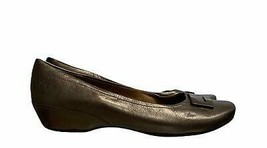 Clarks Artisan Ballet Flats Bronze Leather Slip On Wedge Size 9 M - $25.75