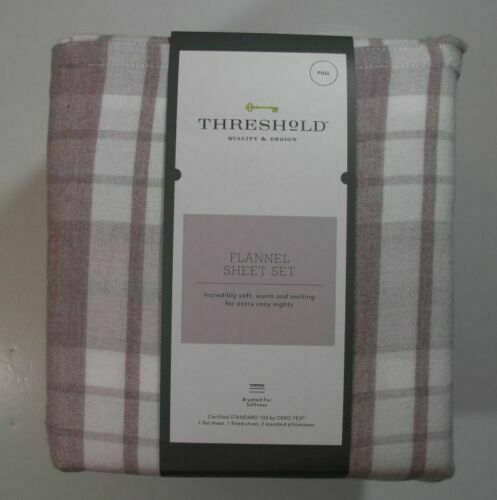 Threshold new sheet set Full purple plaid flannel flat fitted 2 cases brushed - $33.65