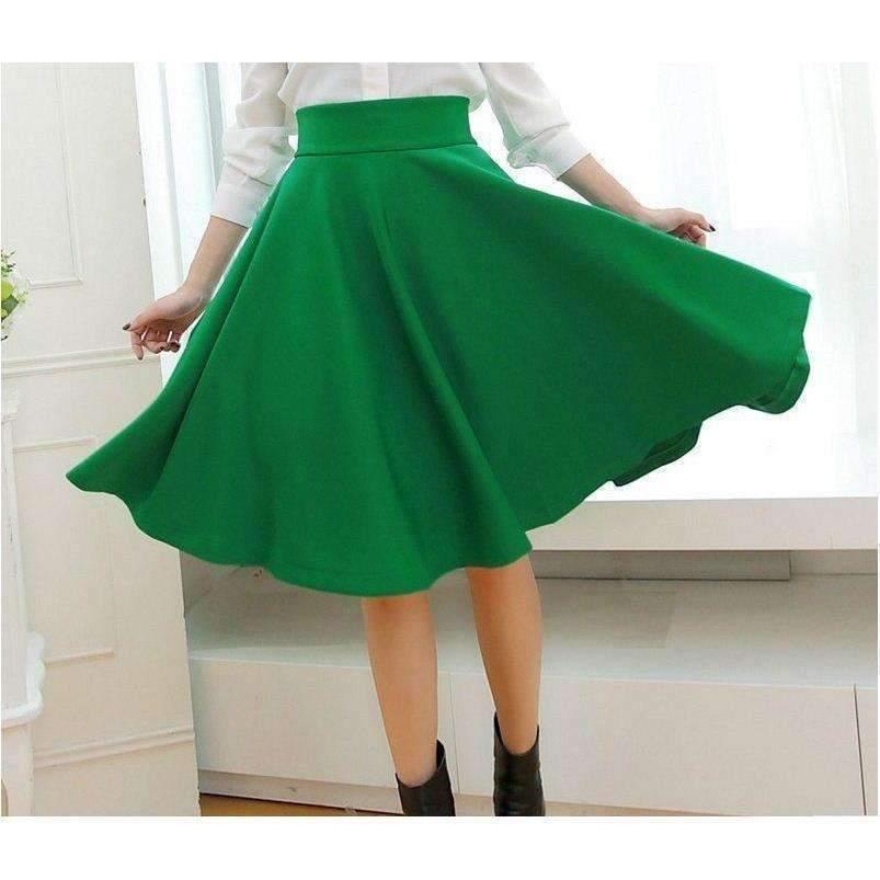Flared Pleated Umbrella Women Midi Skirts