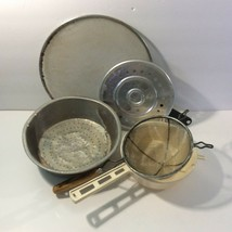 Mixed Lot Vintage Kitchen Ware Wire Mesh Strainer Splatter Screen Steame... - $12.82