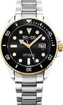 SO&CO New York Men's 5025.3 Yacht Black Dial Date Link Bracelet Watch - £40.31 GBP