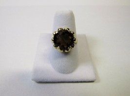 Solid 14K 14KT Yellow Gold Smoky Quartz Size 7 Ring 4.5 Grams Signed OS ... - $163.35