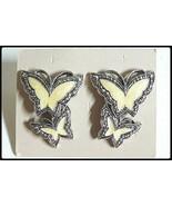 Vintage AVON Whispering Wings butterfly earrings white w silver-tone mar... - $14.80