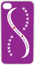 Purple and White Infinity Paw Four Purple Custom Names on iPhone 4 4s Ca... - $15.95