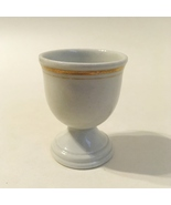 Egg Cup Double Gold Bands Trim Vintage Footed White Ceramic Pottery - $20.00