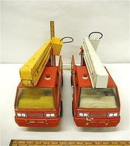 2 Vintage Tonka USA Steel Fire Trucks Aerial Pumper Water Cannon  - $69.14