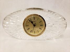 "Large Waterford Crystal Oval Quartz Clock 8"" Mantel or Desk Clock - $98.99"