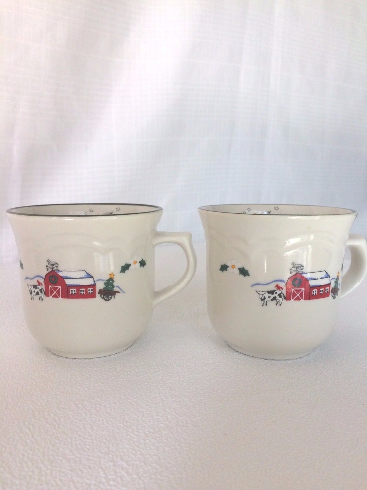 Pfaltzgraff Retired Lot 2 SNOW VILLAGE Christmas Coffee Tea Mugs Cups - $24.74