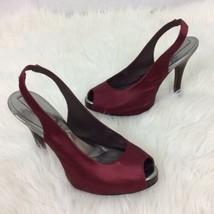 BCBG MAXAZRIA Womens Red Maroon Satin High Heel Shoes Peep Toes Size 8.5B 38.5 - $36.47