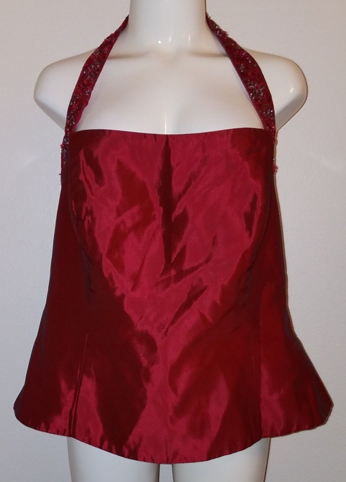 Primary image for Davids Bridal Burgundy Beaded Halter Top Size 18 Dress Formal Wedding Embroidery