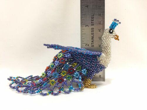 "Huichol Beaded Peacock Bird Art Figurine Mexican Folk Art Handmade Glass 6.5"""