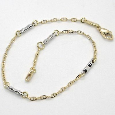 18K YELLOW & WHITE GOLD BRACELET MARINER LINK AND TUBE ALTERNATE, MADE IN ITALY