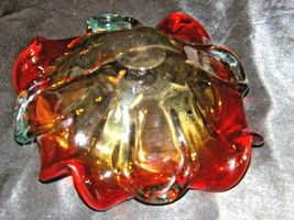 Heavy red flower design blown glass AA19-1464 Vintage image 6