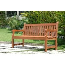 Outdoor Eucalyptus Wood 5-Ft Garden Bench with Natural Finish - $230.00