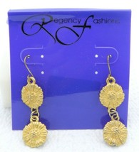 VTG REGENCY FASHIONS Gold Tone Sunflower Dangle Earrings - $19.80