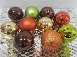10 Thanksgiving Fall Harvest Orange Brown Ball Christmas Ornaments Decor... - $15.99