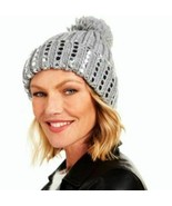 DKNY Grey Flat-Stud Metallic Rib-Knit Beanie, One Size - $29.69
