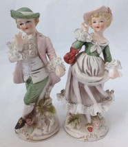 2 Vintage Arnart Figurines Boy Girl w Dresden Lace Hand Painted Porcelai... - $39.95