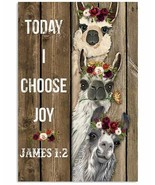 Llama With Flower Poster, For Decor Kid Room, Gift For Families And Friends - $25.59+