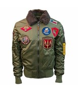 Top Gun Official B 15 Mens Flight Bomber Jacket with Patches Verde Oliva - $328.03