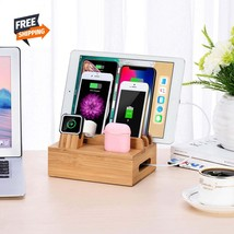 Bamboo Charging Station & Organizer for Multiple Devices + 5 Gift Cables - $27.00