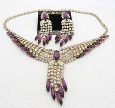 VTG 1980's SWAROVSKI Silver Tone Clear Purple Rhinestone Necklace Earrin... - $118.80