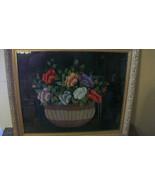 VINTAGE 1950's EMBROIDERED FLOWERS IN BASKET ON BLACK SILK CLOTH FRAMED - $482.63