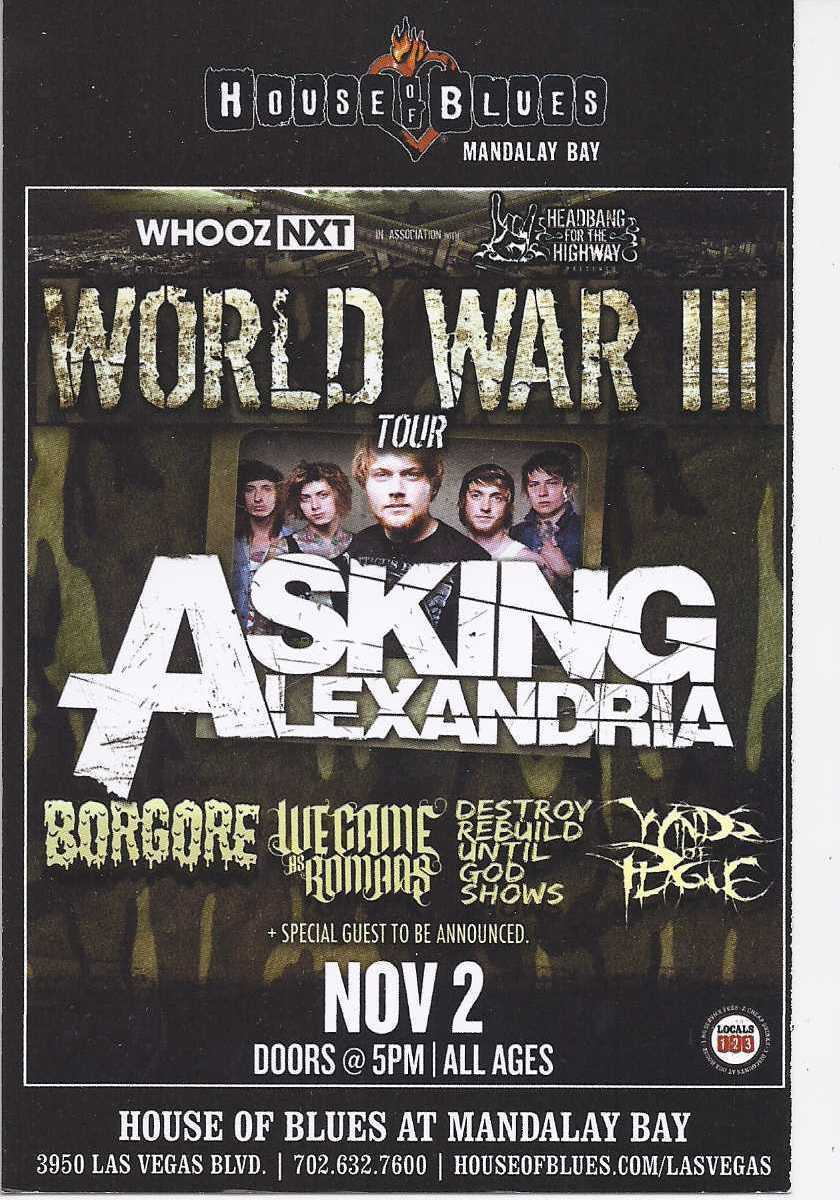 Primary image for We Came As Romans, WORLD WAR III Tour @ House of Blues Mandalay Bay Vegas Promo