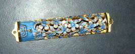 Judaica Mezuzah Case Gold Enamel Decorated Jeweled Aqua Crystals 8 cm Menorah image 4