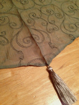 JCPenney Sheer Crushed Voile Embroidered Ascot Valance 50 x 19 Sage Green  - $15.83