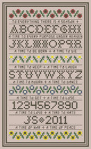 To Everything There Is A Season floral band sampler PDF cross stitch Joh... - $5.00
