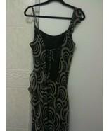 Michelle Jonas Maxi Gown Navy & Beige Side Ruffle  - $90.00