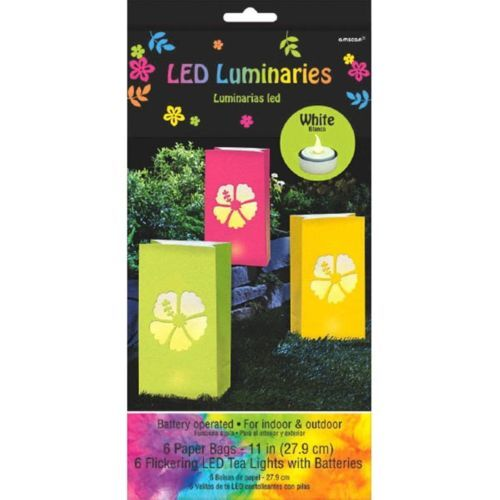 Neon Paradise 6 Battery Operated LED Tea Lights Luminary Bags