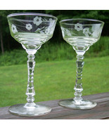 PAIR Libbey 3005 Gray Cut Floral Crystal Goblets Glasses Vintage Wedding... - $29.98