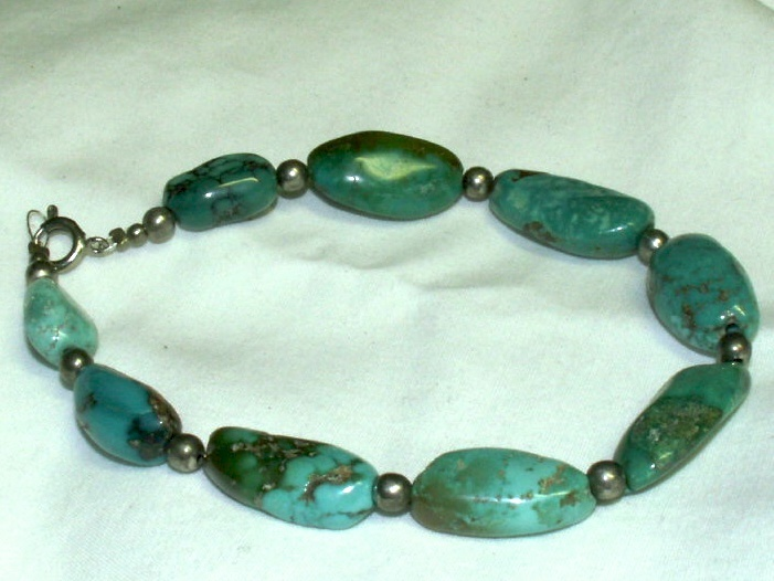 "9"", Green Turquoise Bracelet, Stone Bracelet, Apache Made"