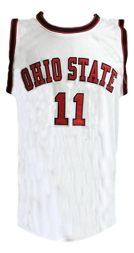 Jerry lucas  11 college basketball jersey white   1