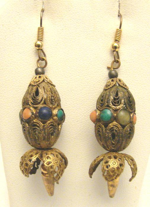Primary image for VINTAGE FILIGREE & STONE EARRINGS