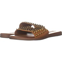 Steve Madden Farryn Flat Slide Sandals 393, Cognac Spike, 6 US - $31.67