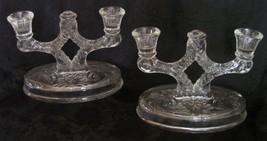 McKee Candleholders Rock Crystal Cut Glass Vint... - $39.98