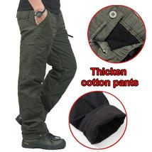 Winter Double Layer Men's Classic Cargo Pants Warm Thick Baggy Pants Cotton Trou