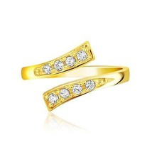 14k Yellow Gold Contemporary Cubic Zirconia Accented Toe Ring Fine Jewelry - $117.85