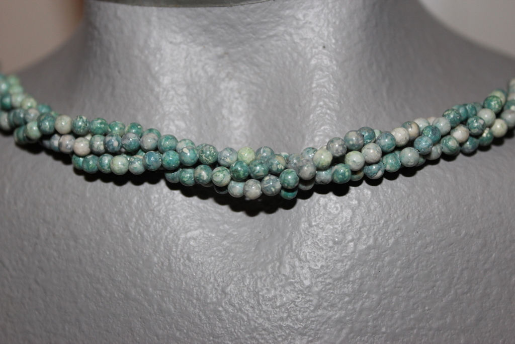 "Primary image for  THE TWIST BEADS ERA!  36"" NECKLACE OF 4 MM ROUND BEADS SOFT GREEN, BLUE BLENDS"