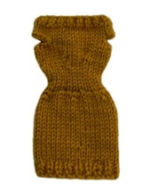 Barbie Doll Clothes Knit Gold Sweater Dress Handmade - $5.99