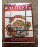 Janlynn Christmas Designs Santa Teddy Bear scarf in Window Cross Stitch Kit - $24.74