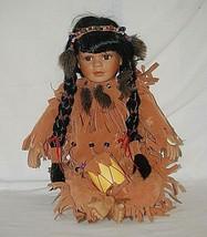Southwestern Native American Girl Doll Drum Porcelain Head Hands & Feet ... - $29.69