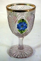 Co-Operative Flint Sunk Daisy-Flashed-Gold Trim Rare Wine Glass - $62.99